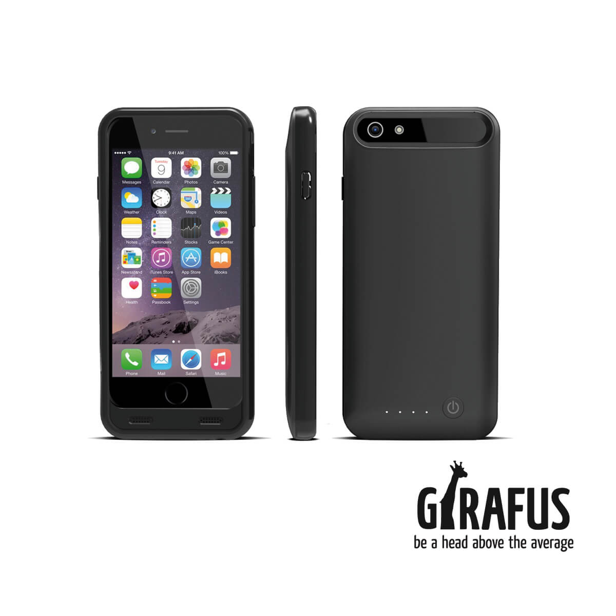 apple mfi zertifiziert girafus 3100mah high end iphone 6 6s externes akku batterie cover. Black Bedroom Furniture Sets. Home Design Ideas